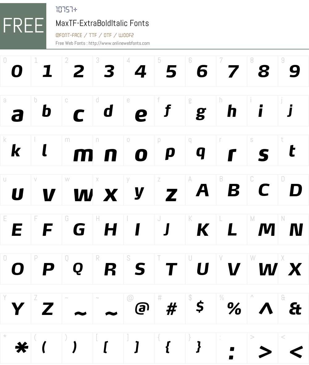 MaxTF-ExtraBoldItalic Font Screenshots