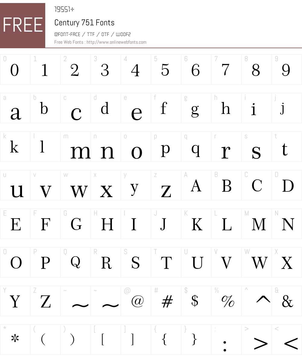 Century 751 Font Screenshots