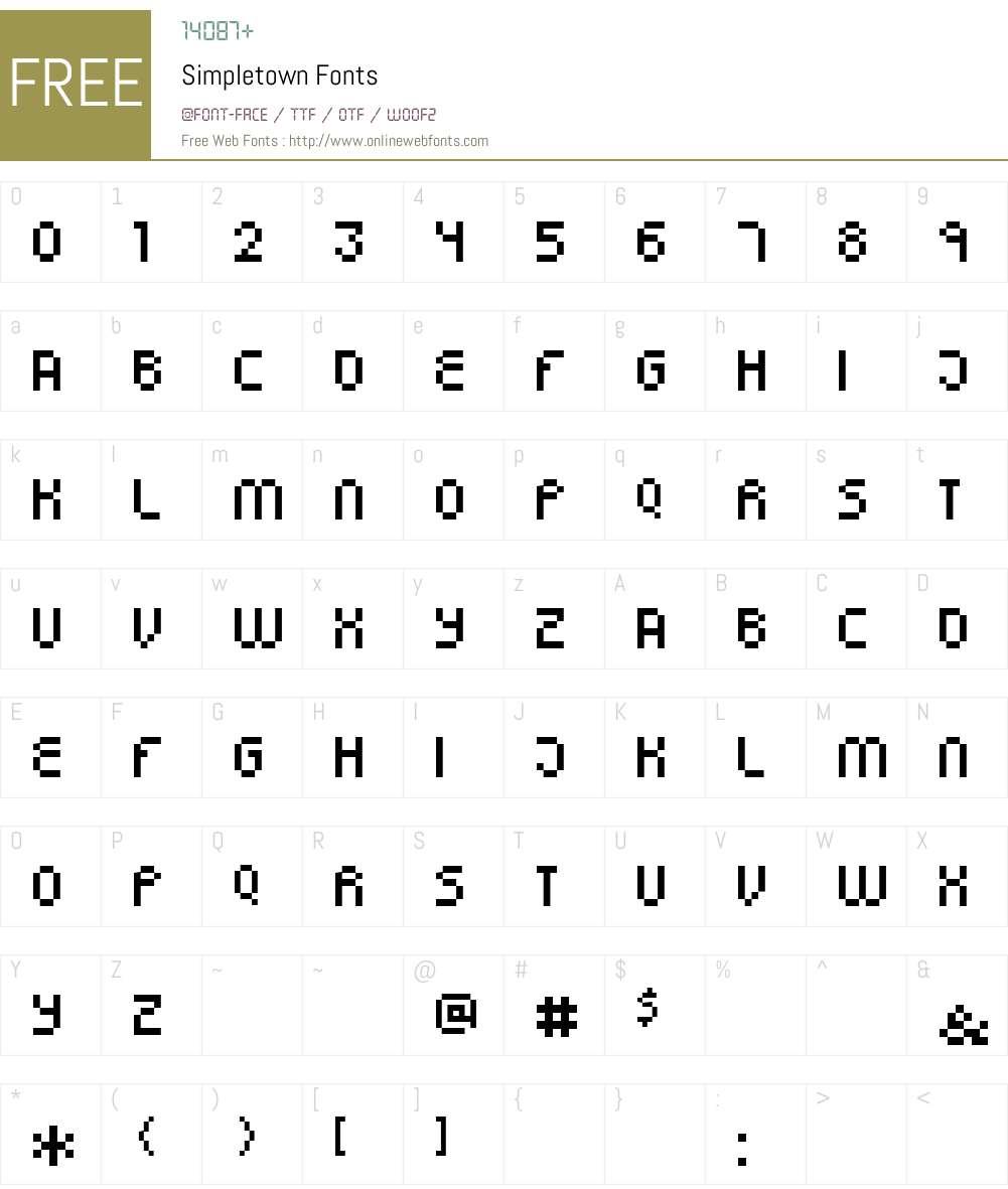 Simpletown Font Screenshots