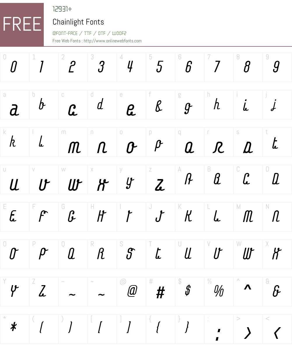 Chainlight Font Screenshots