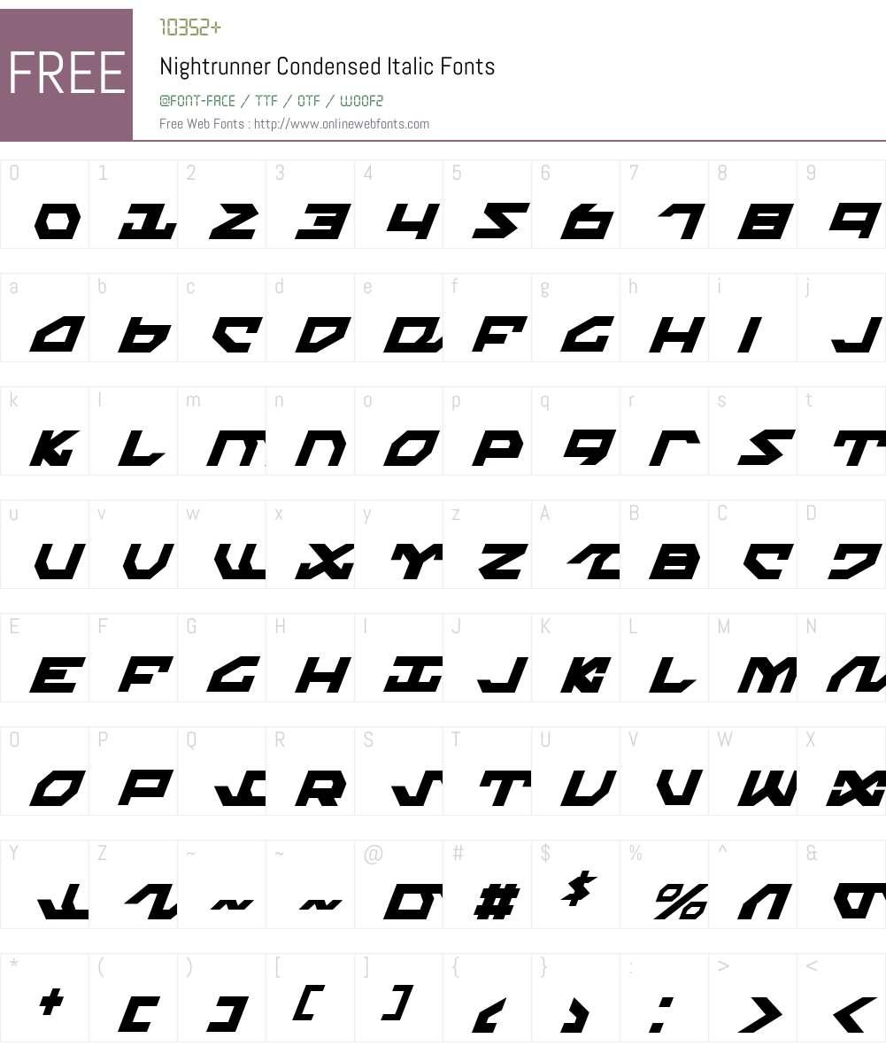 Nightrunner Condensed Italic Font Screenshots