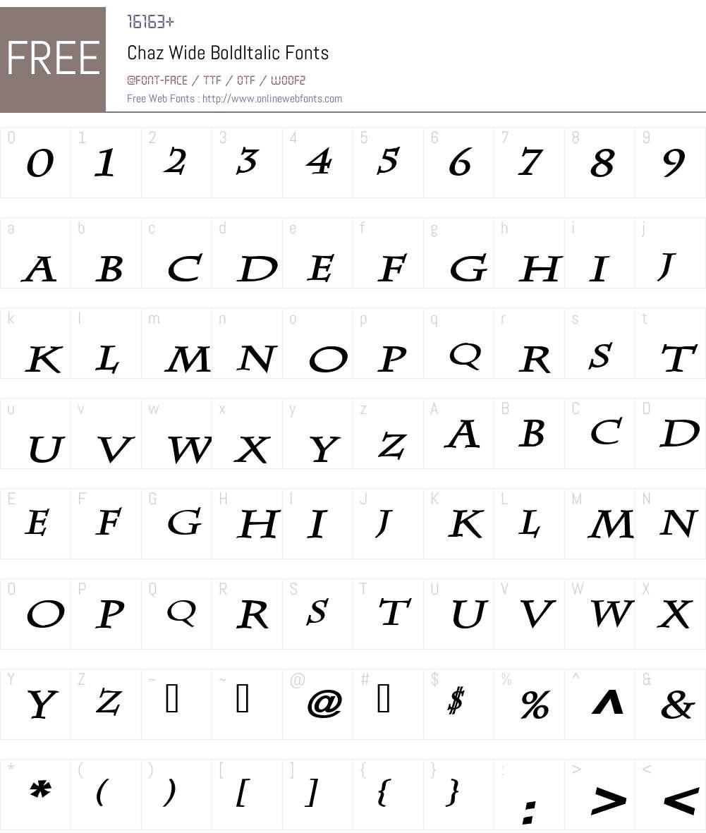 Chaz Wide Font Screenshots