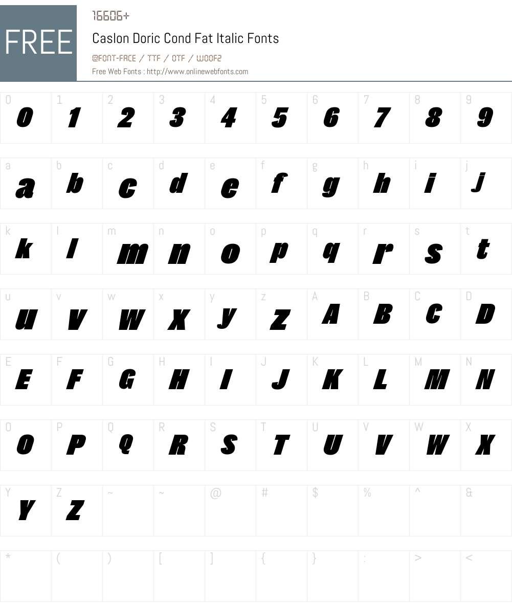 Caslon Doric Cond Fat Font Screenshots