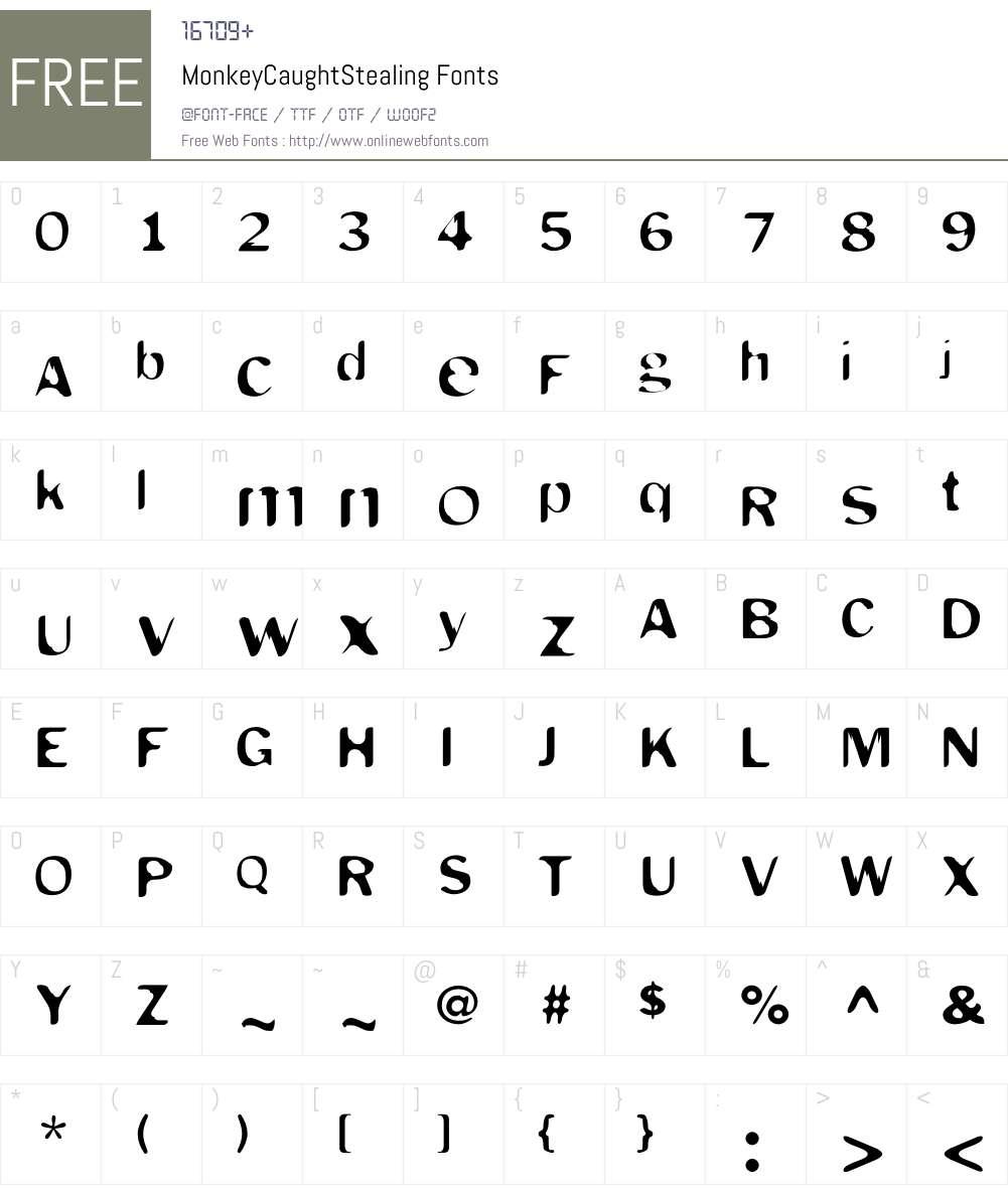 MonkeyCaughtStealing Font Screenshots