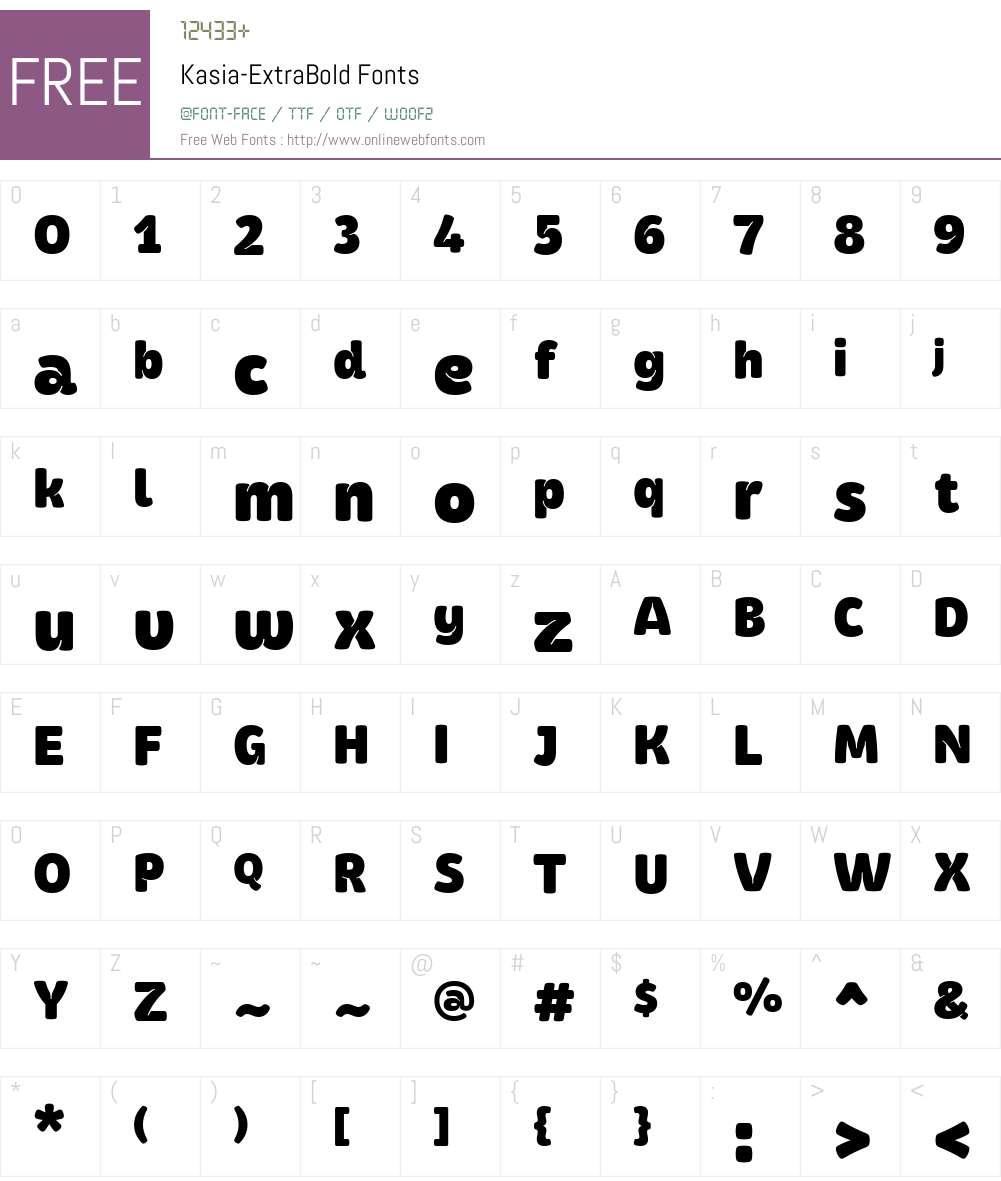 Kasia-ExtraBold Font Screenshots