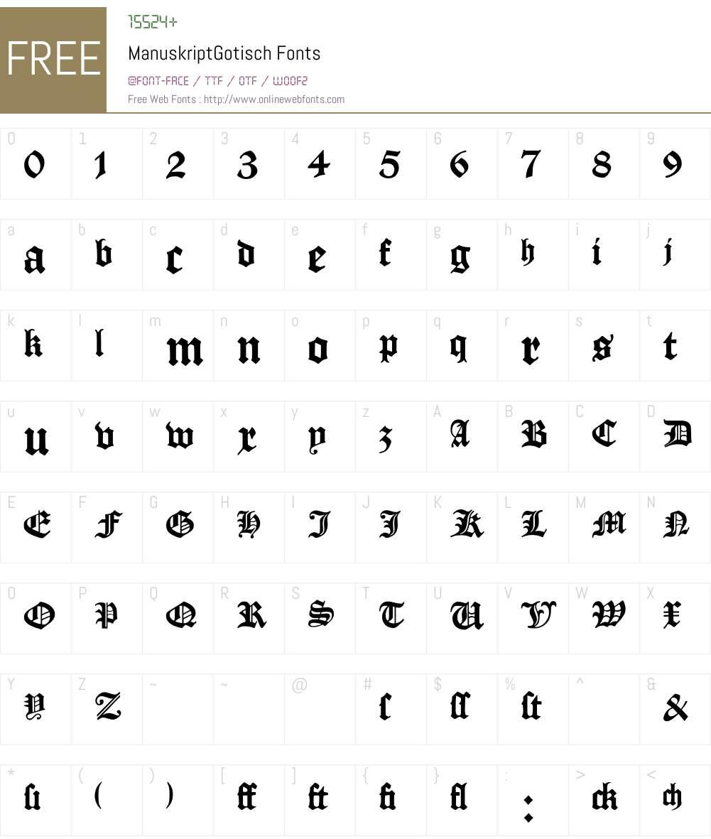 ManuskriptGotisch Font Screenshots