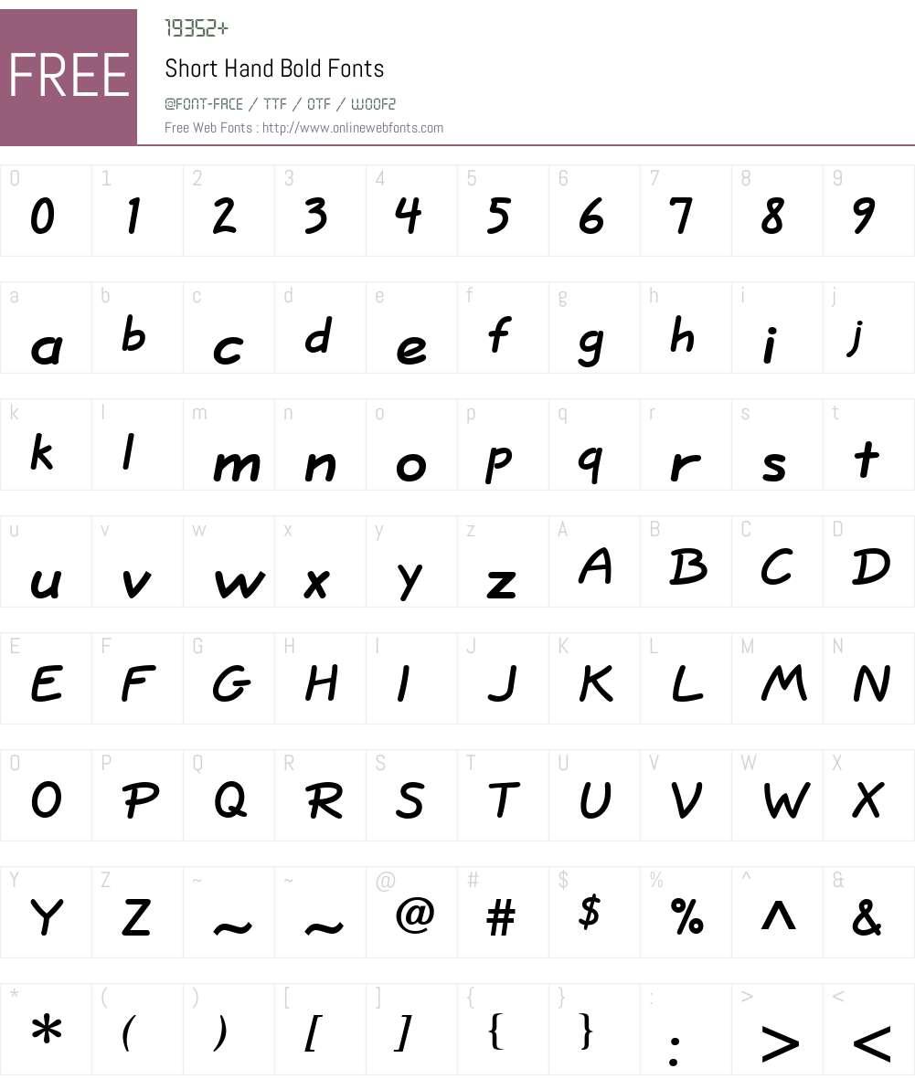 Short Hand Font Screenshots