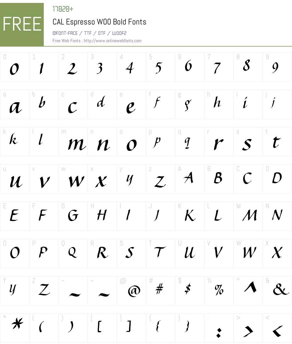 CALEspressoW00-Bold Font Screenshots