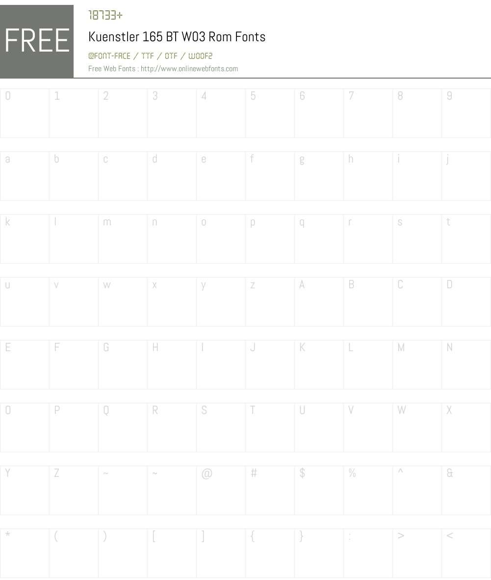 Kuenstler 165 BT Font Screenshots