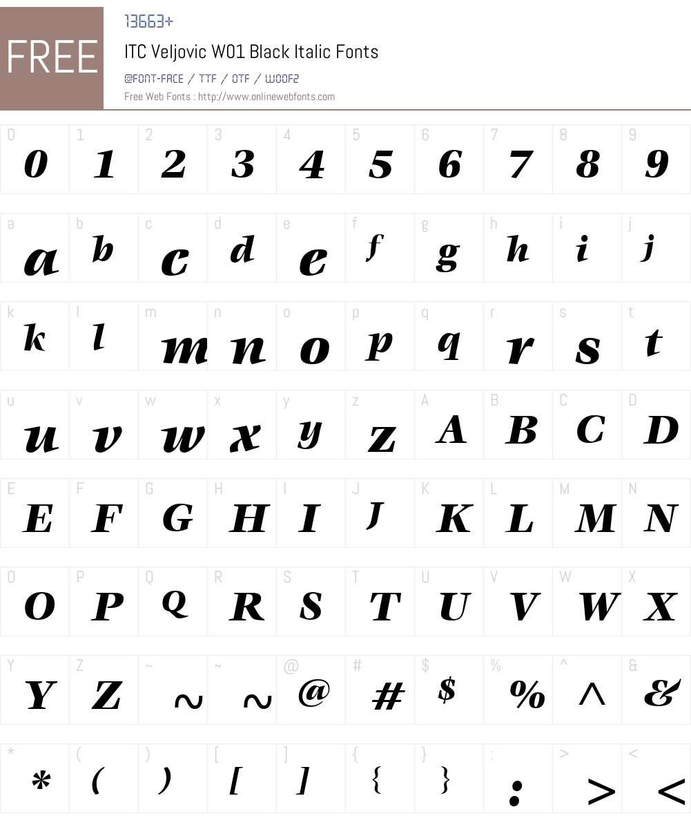 ITCVeljovicW01-BlackItalic Font Screenshots