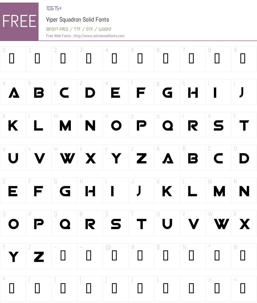 Viper Squadron Solid Font Screenshots