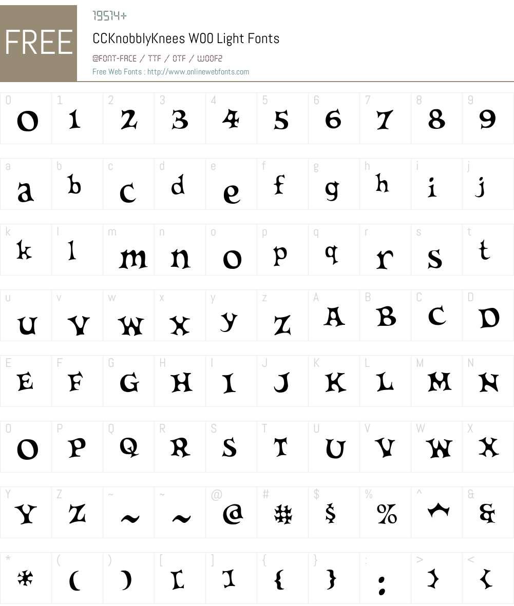 CCKnobblyKneesW00-Light Font Screenshots