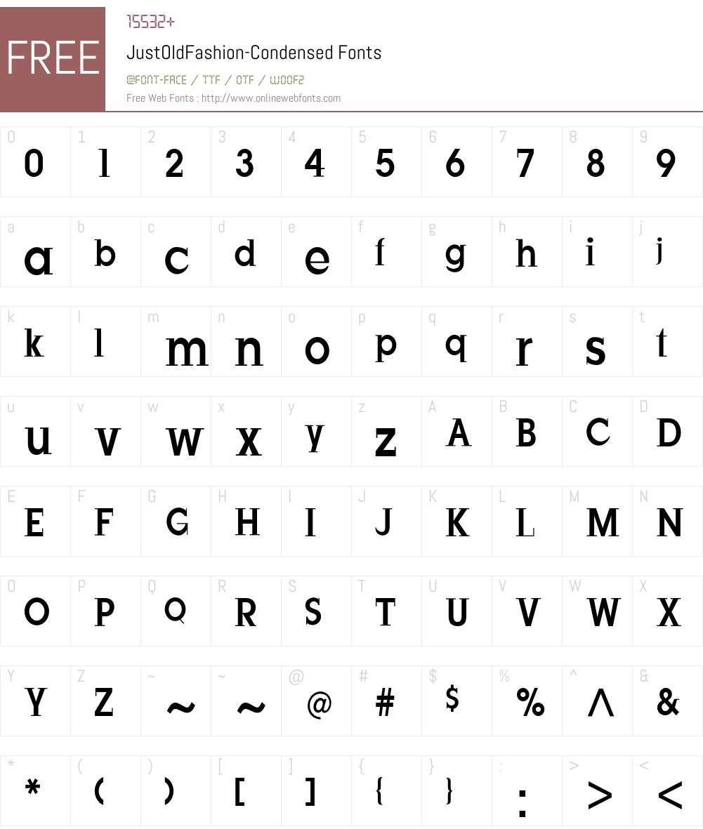 JustOldFashion-Condensed Font Screenshots