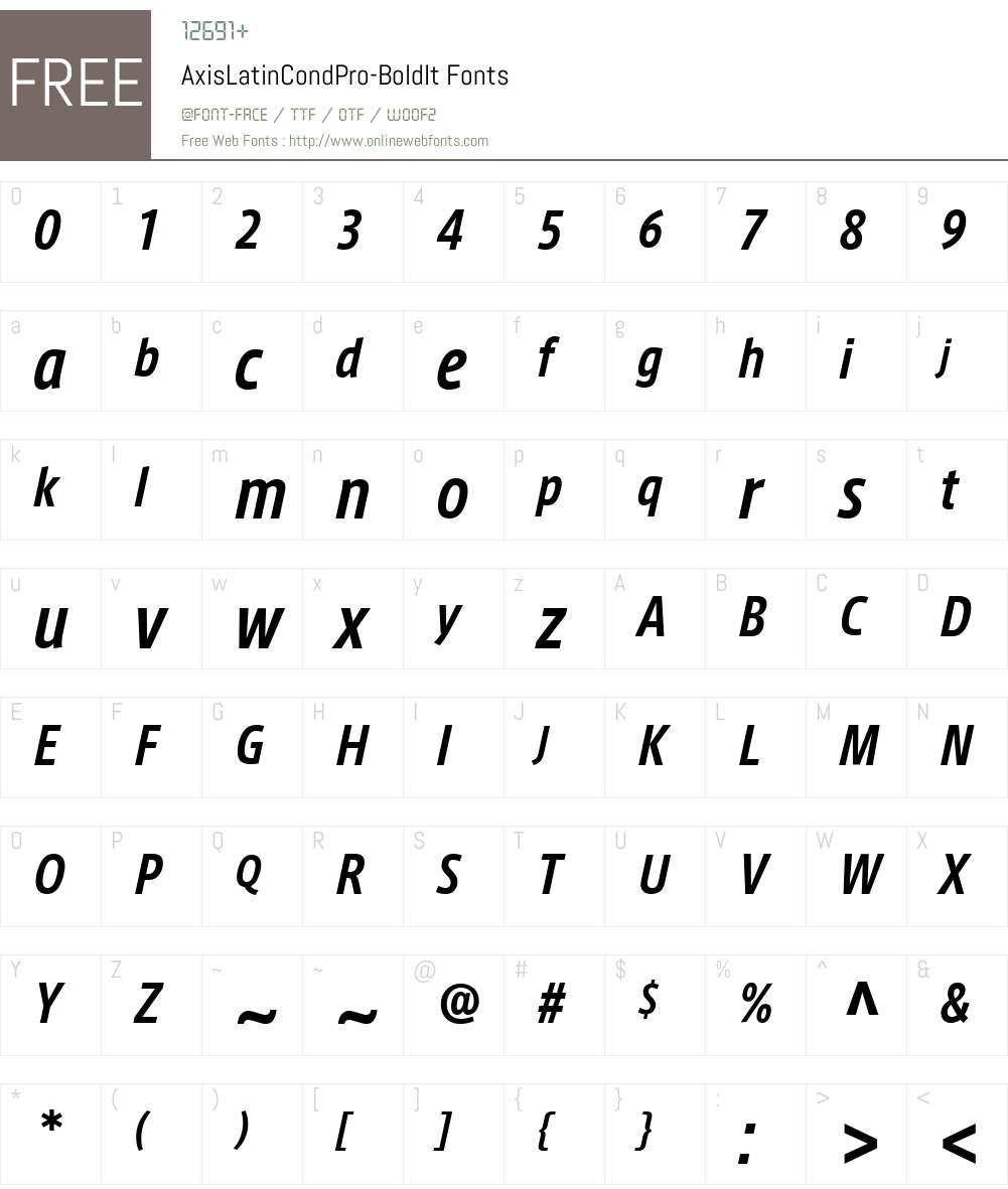 AxisLatinCondPro-BoldIt Font Screenshots