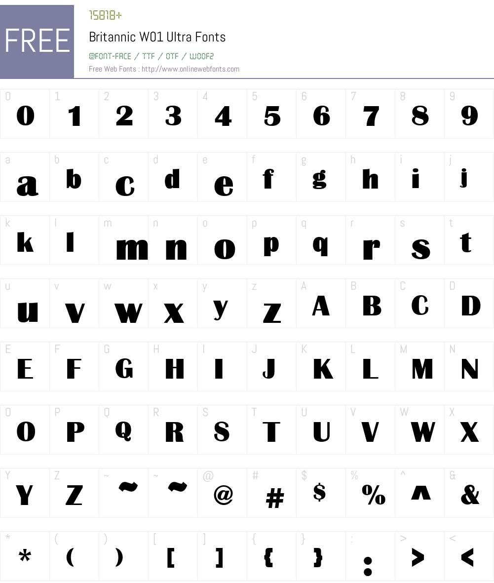 BritannicW01-Ultra Font Screenshots