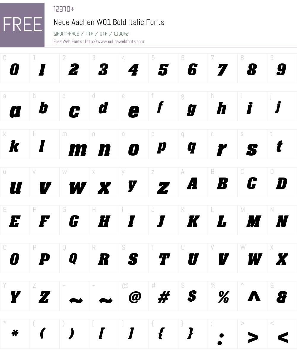 NeueAachenW01-BoldItalic Font Screenshots