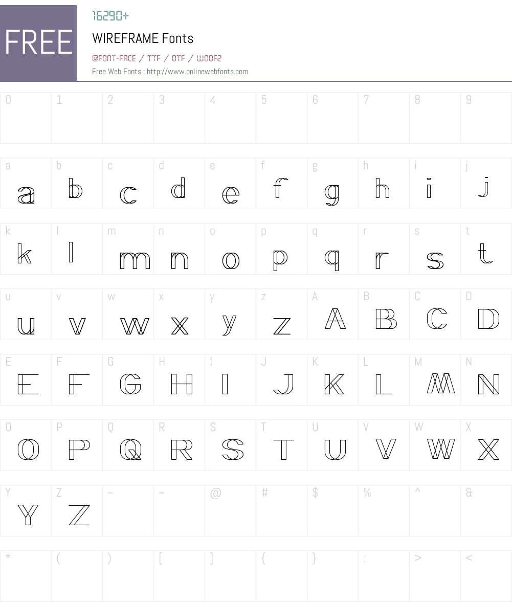 WIREFRAME Font Screenshots