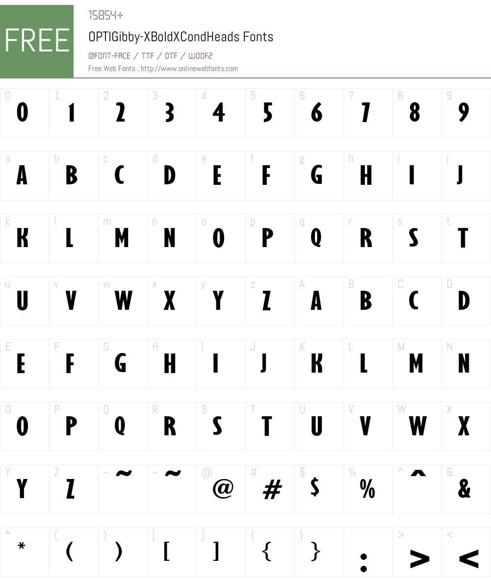 OPTIGibby-XBoldXCondHeads Font Screenshots