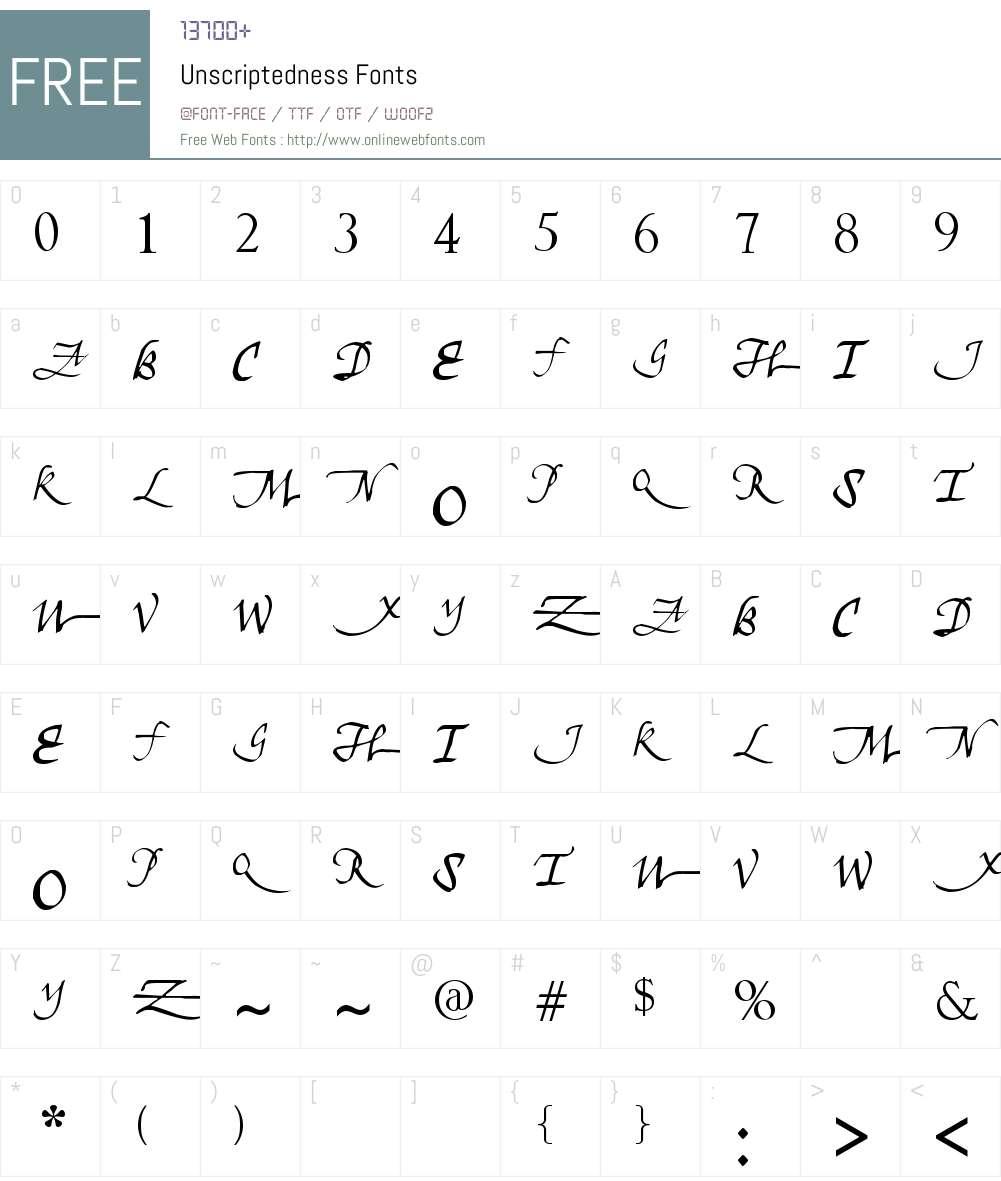 Unscriptedness Font Screenshots