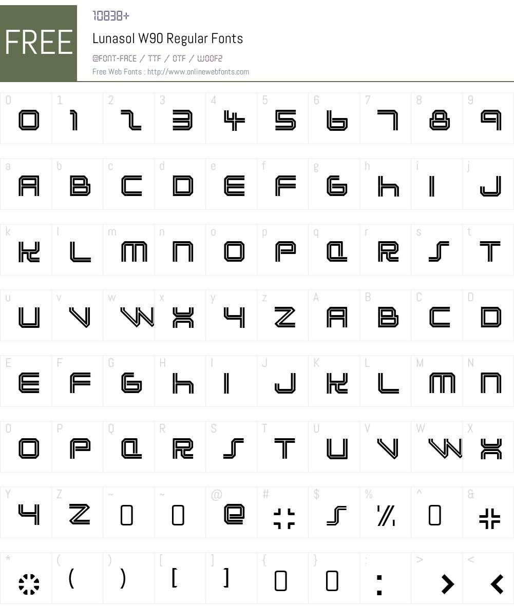 LunasolW90-Regular Font Screenshots