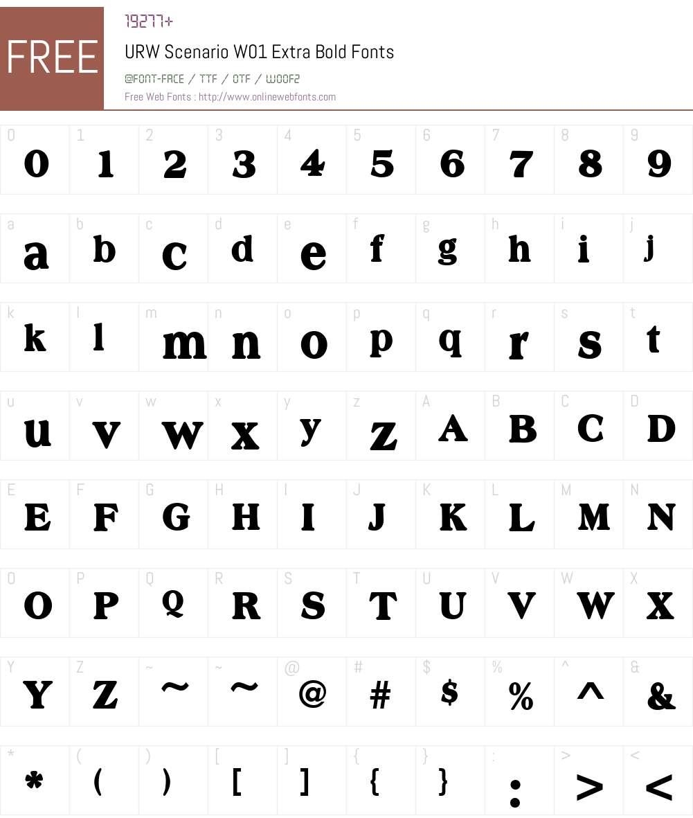 URWScenarioW01-ExtraBold Font Screenshots