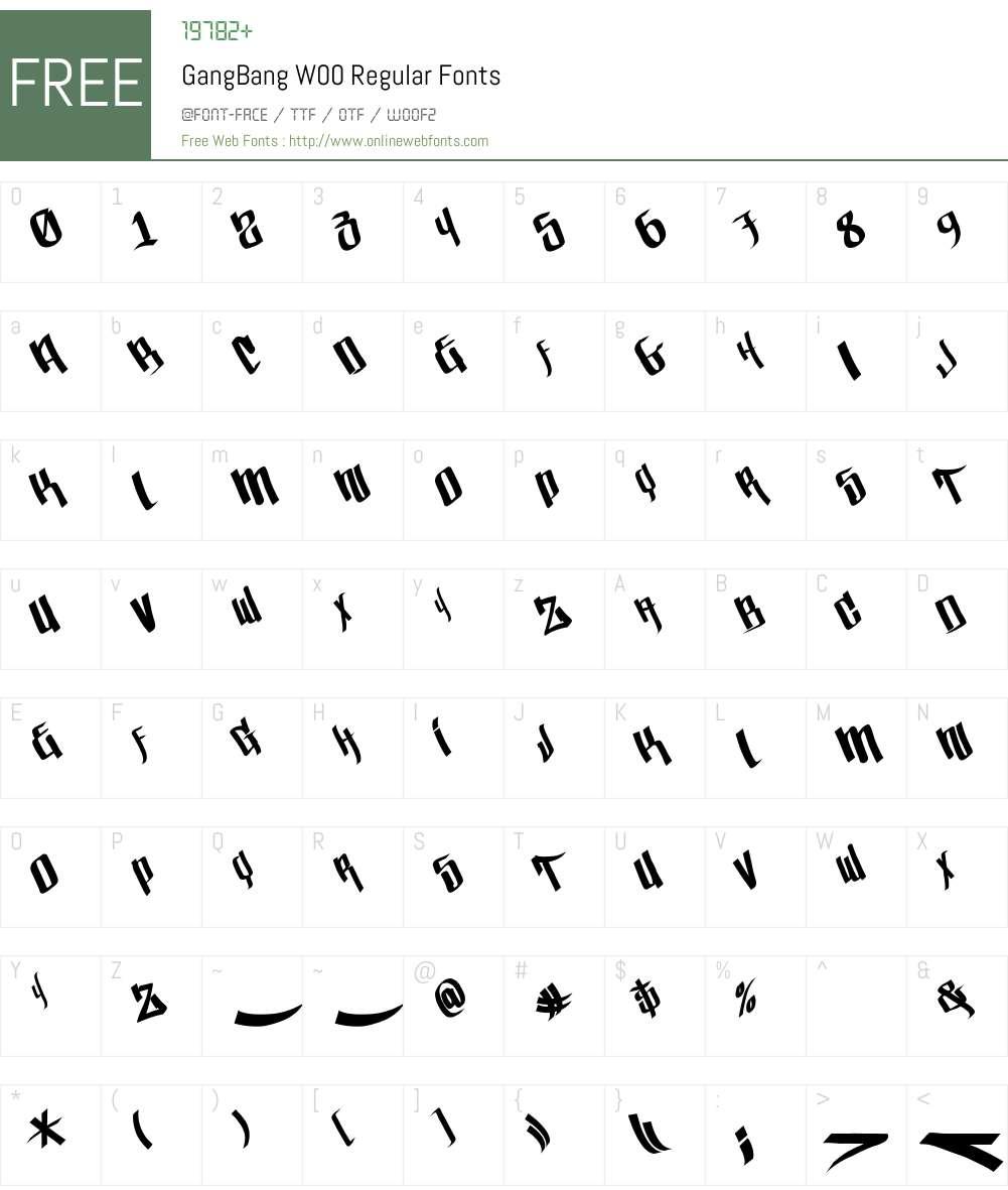 GangBangW00-Regular Font Screenshots