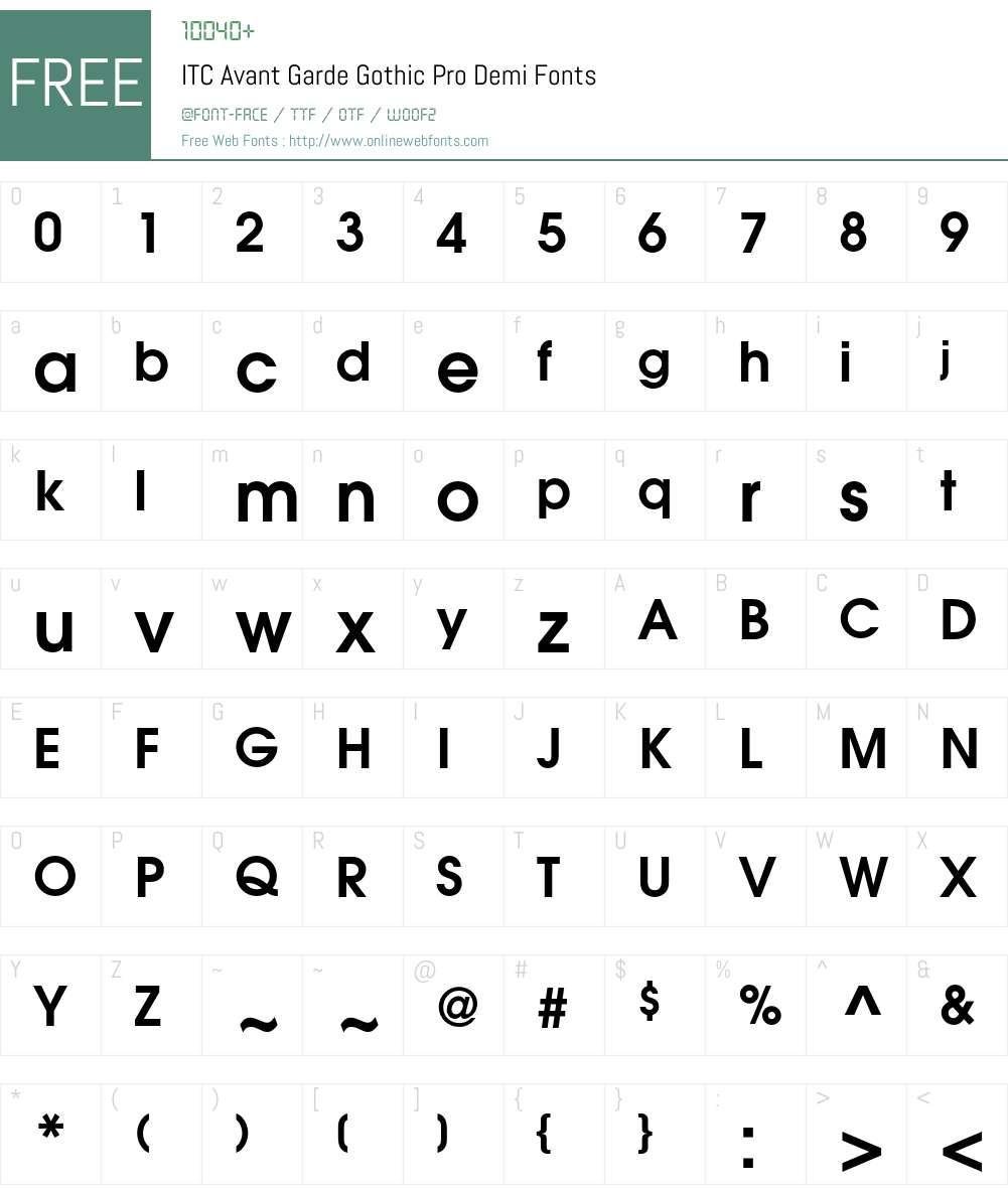 ITC Avant Garde Gothic Pro Font Screenshots