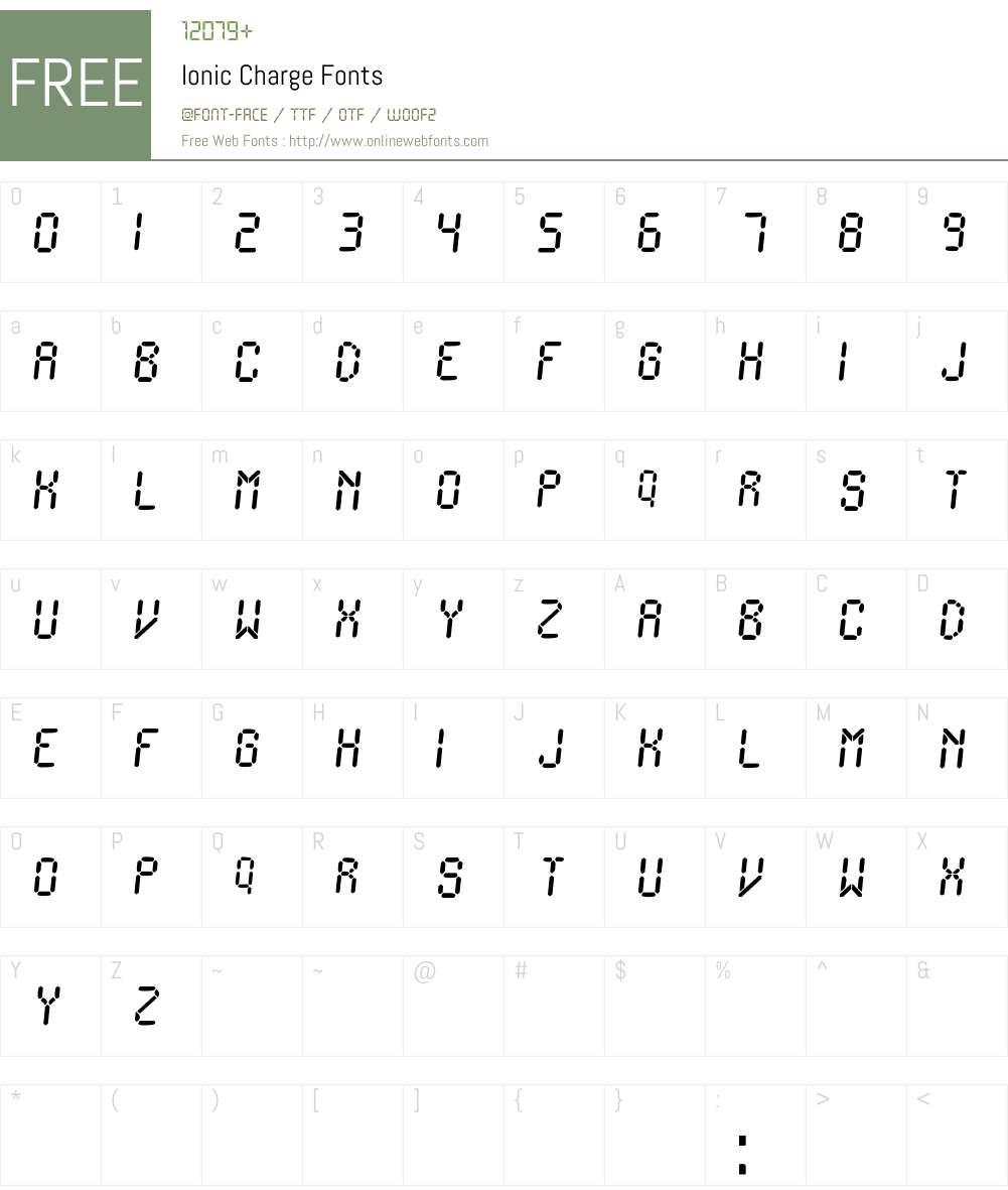 Ionic Charge Font Screenshots