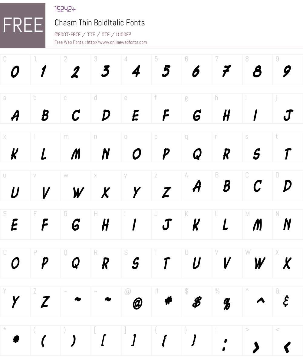 Chasm Thin Font Screenshots