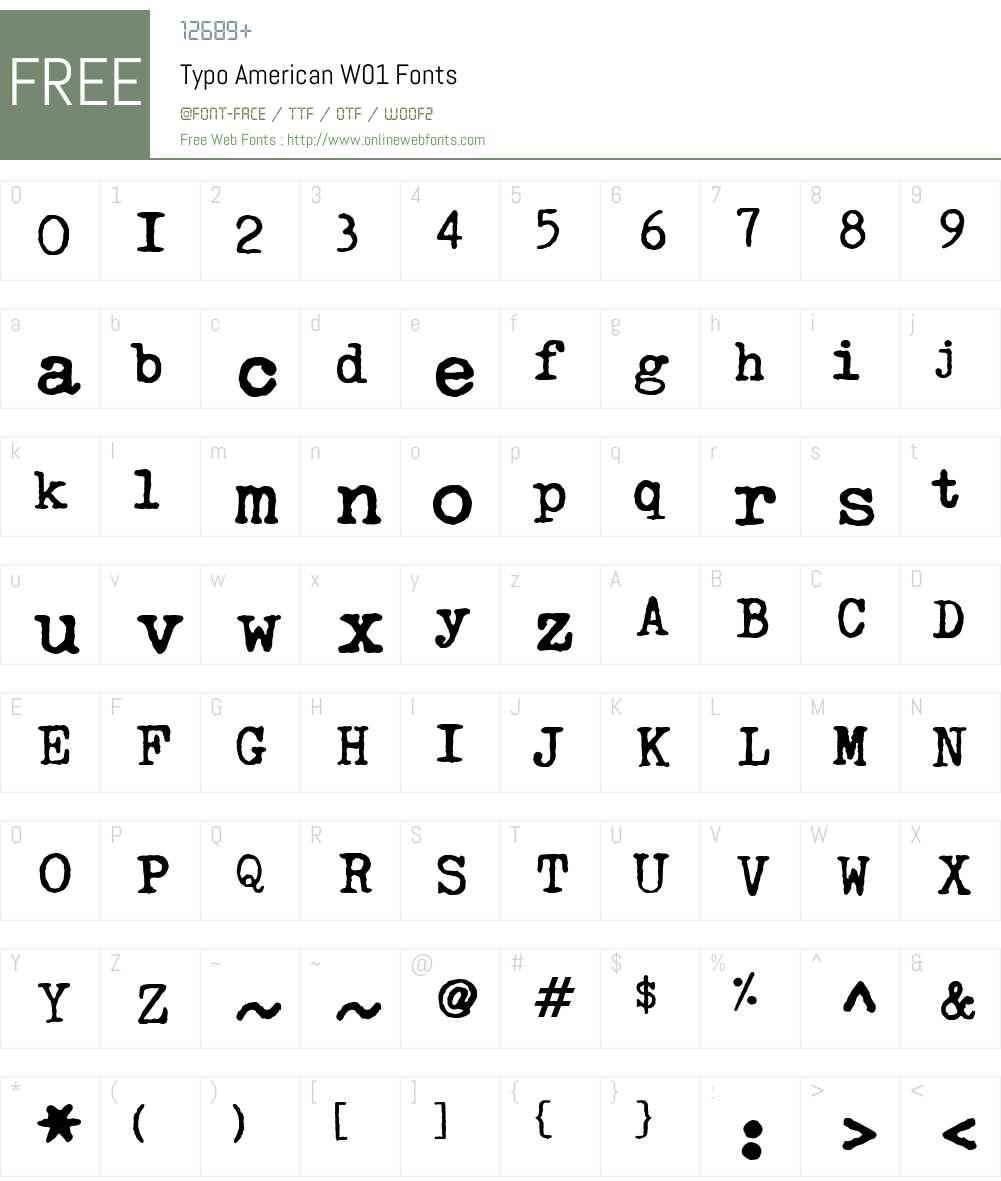 TypoAmericanW01 Font Screenshots