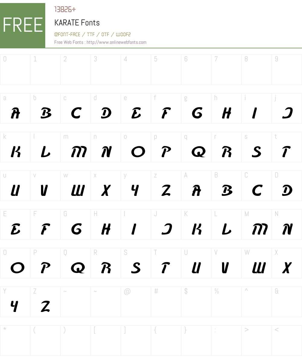 KARATE Font Screenshots