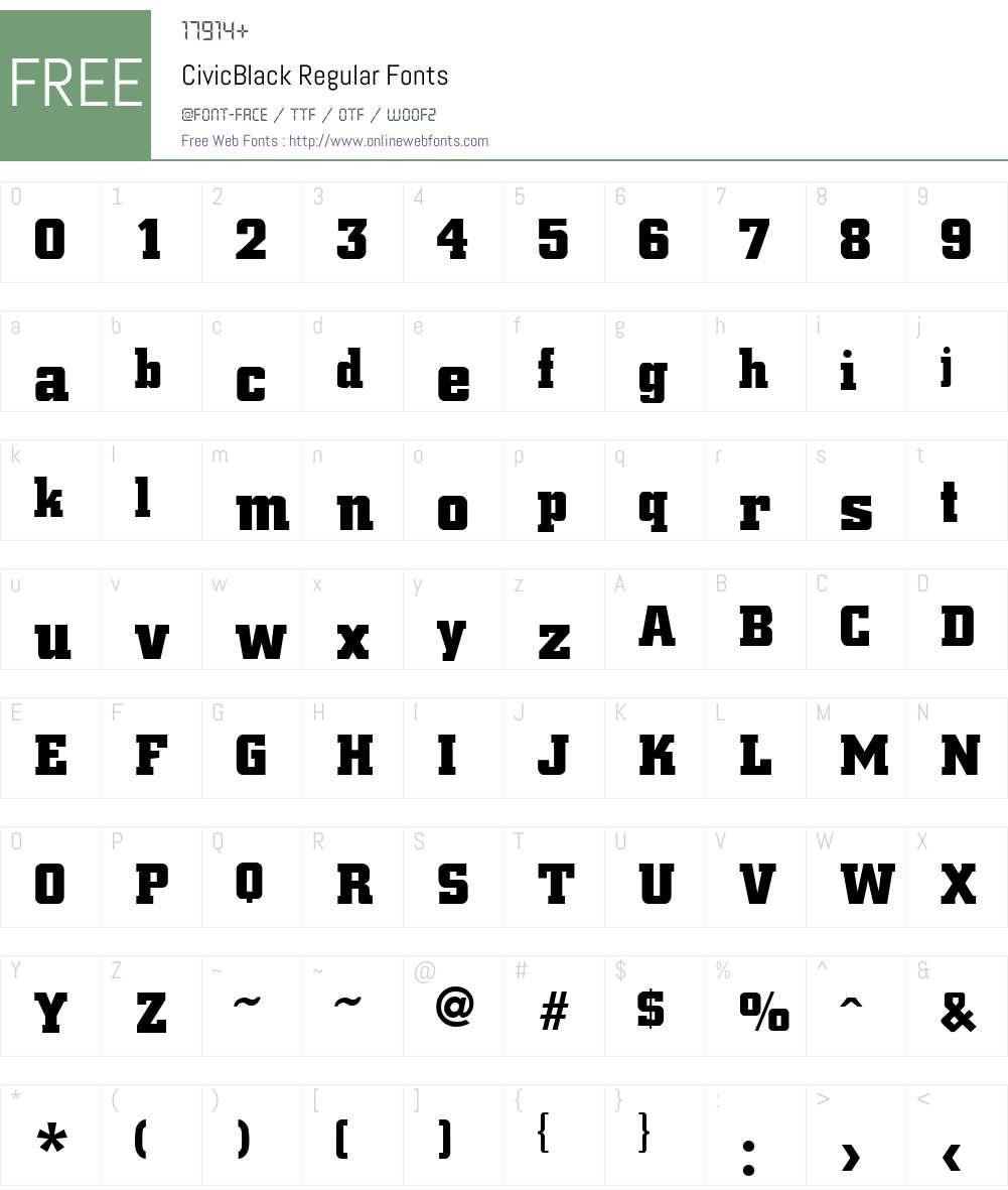 CivicBlack Font Screenshots