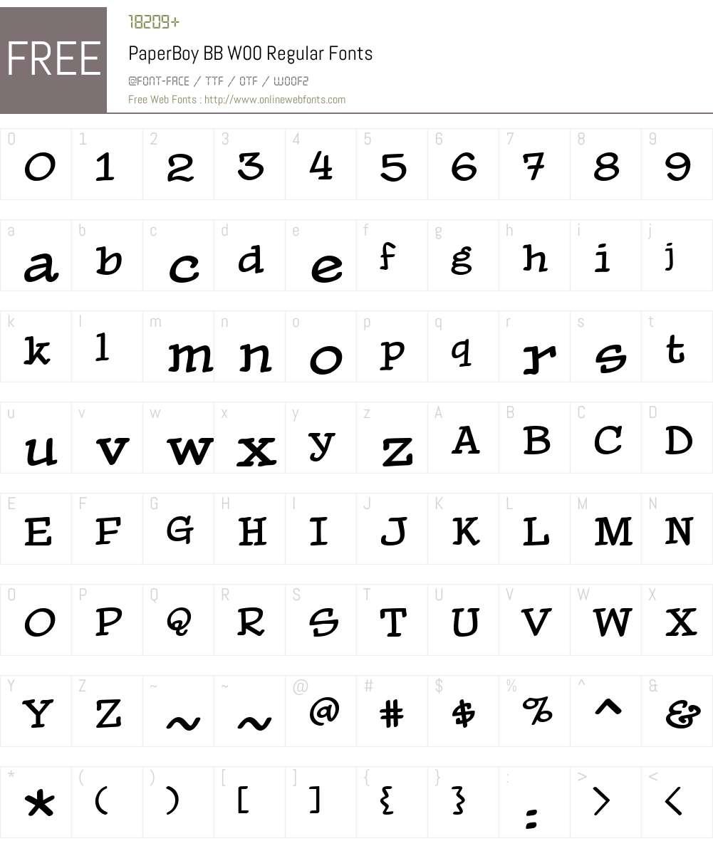 PaperBoy BB Font Screenshots