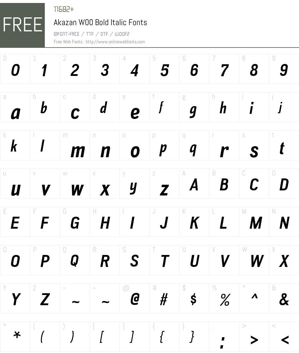 AkazanW00-BoldItalic Font Screenshots