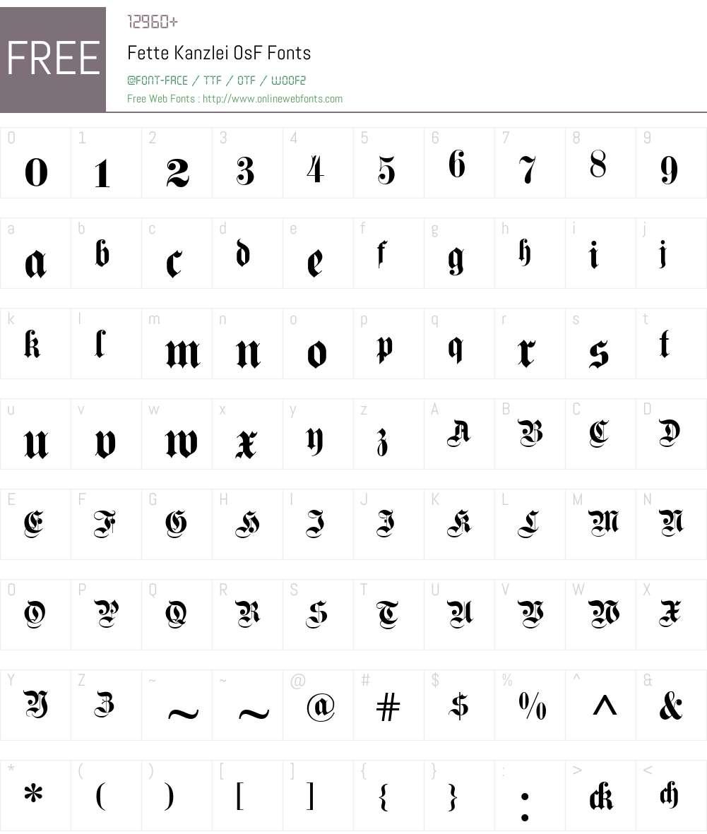 Fette Kanzlei OsF Font Screenshots