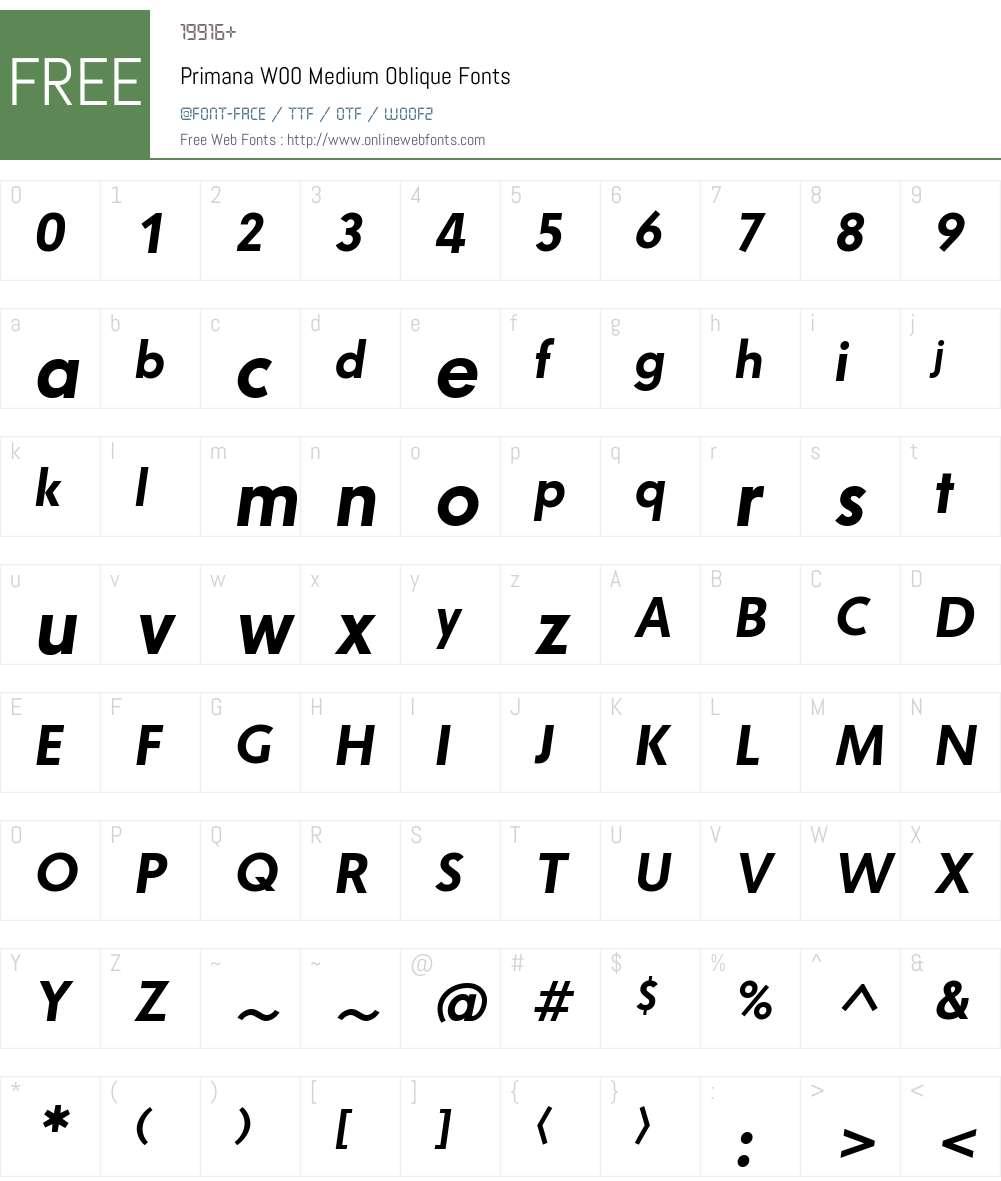 PrimanaW00-MediumOblique Font Screenshots