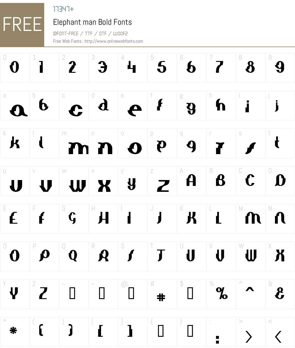Elephant man Font Screenshots