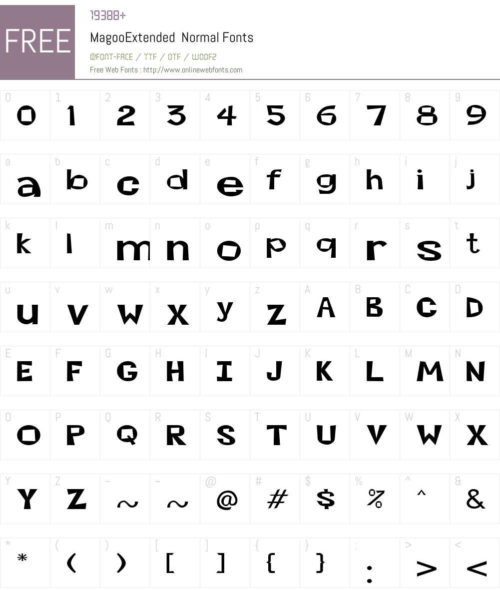 MagooExtended Font Screenshots