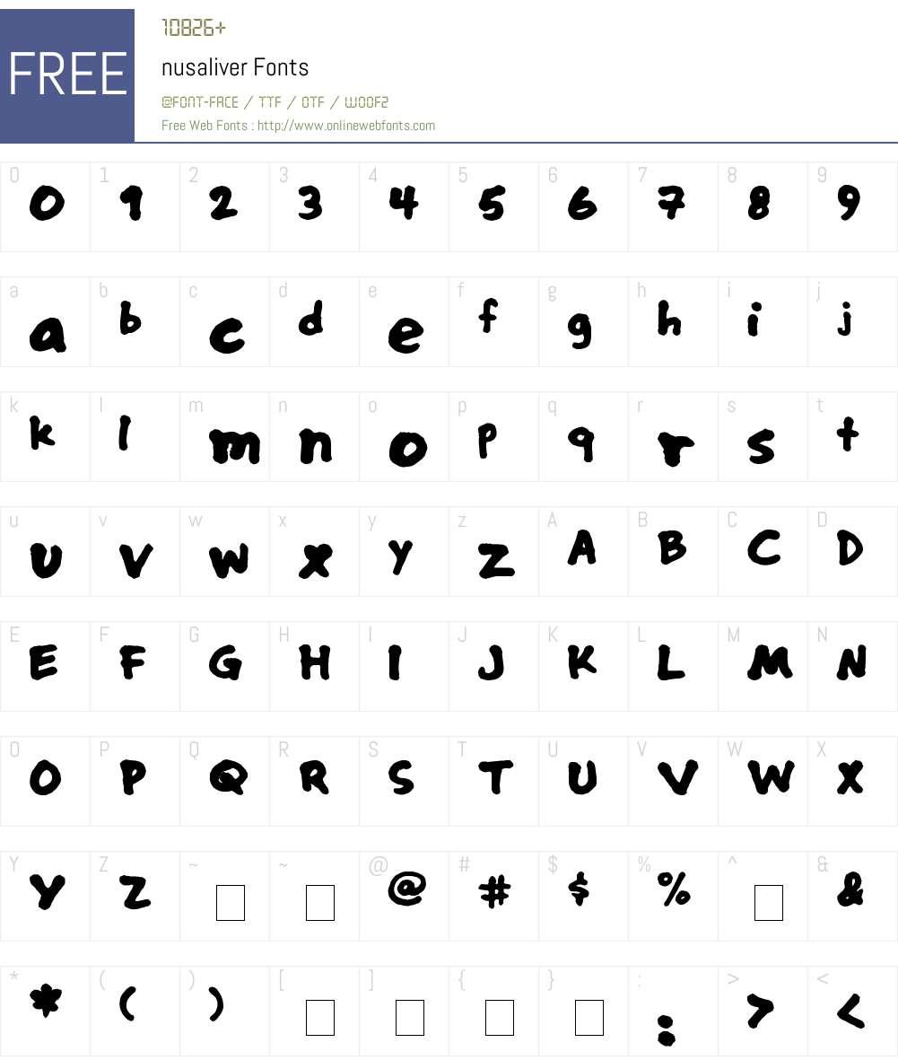 nusaliver Font Screenshots