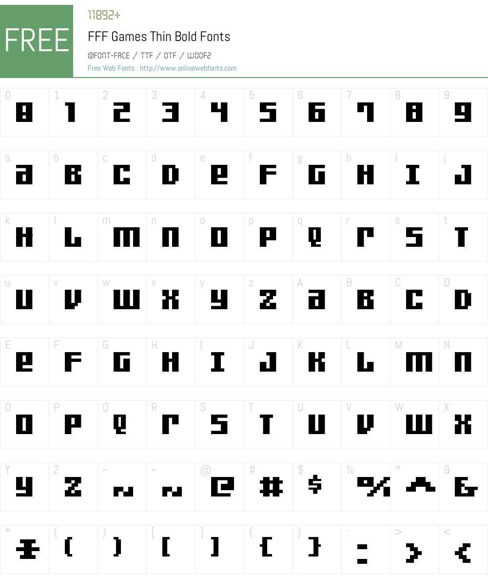 FFF Games Thin Bold Font Screenshots