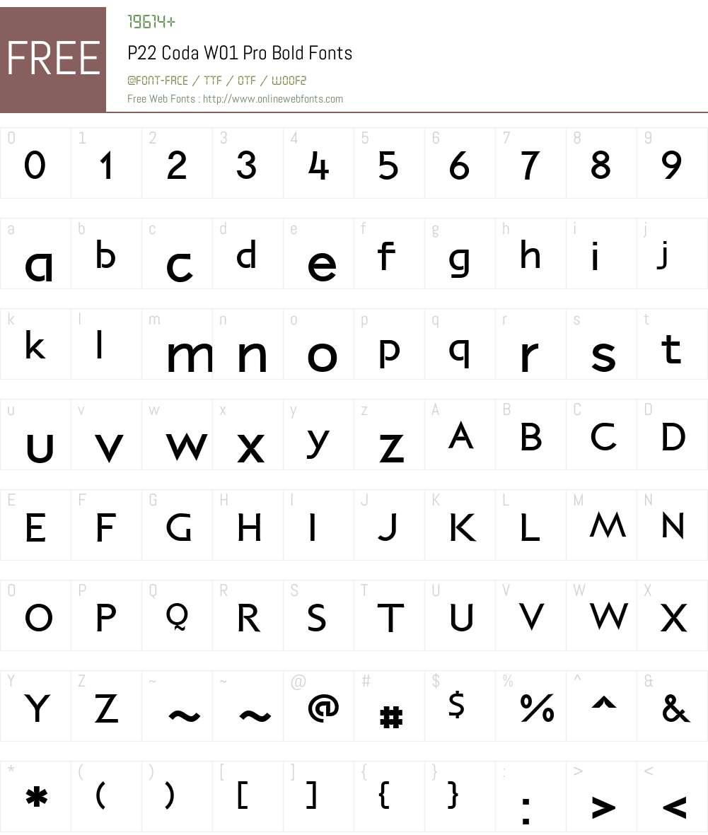 P22CodaW01-ProBold Font Screenshots