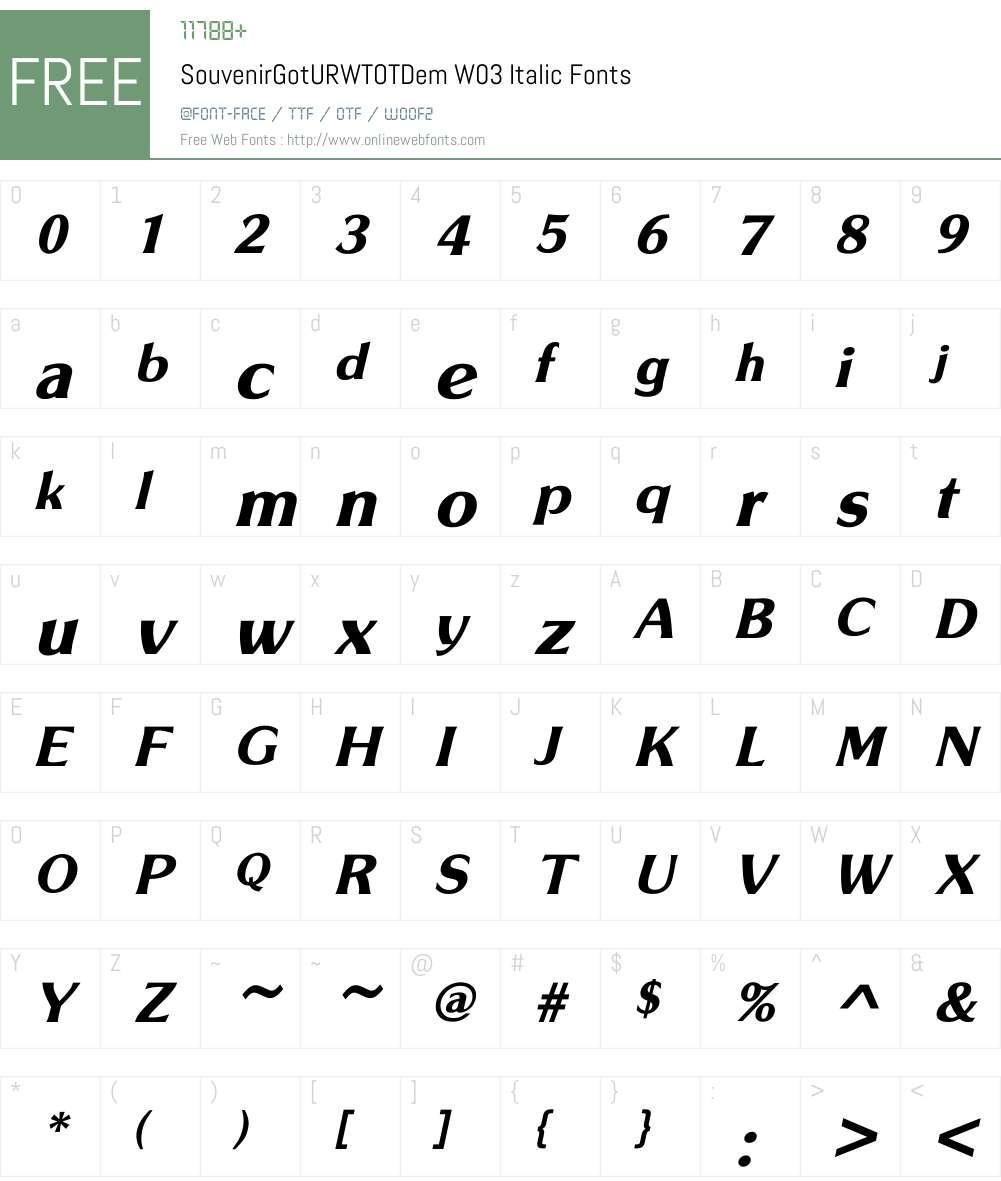 Souvenir Gothic Font Screenshots