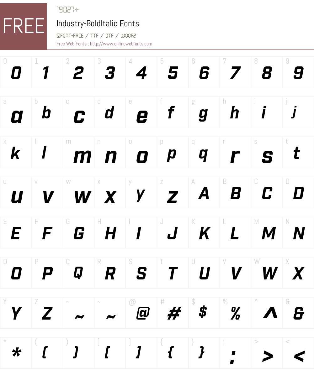 Industry Font Screenshots