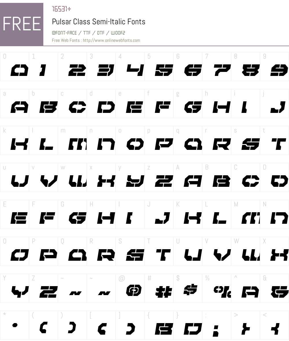 Pulsar Class Semi-Italic Font Screenshots