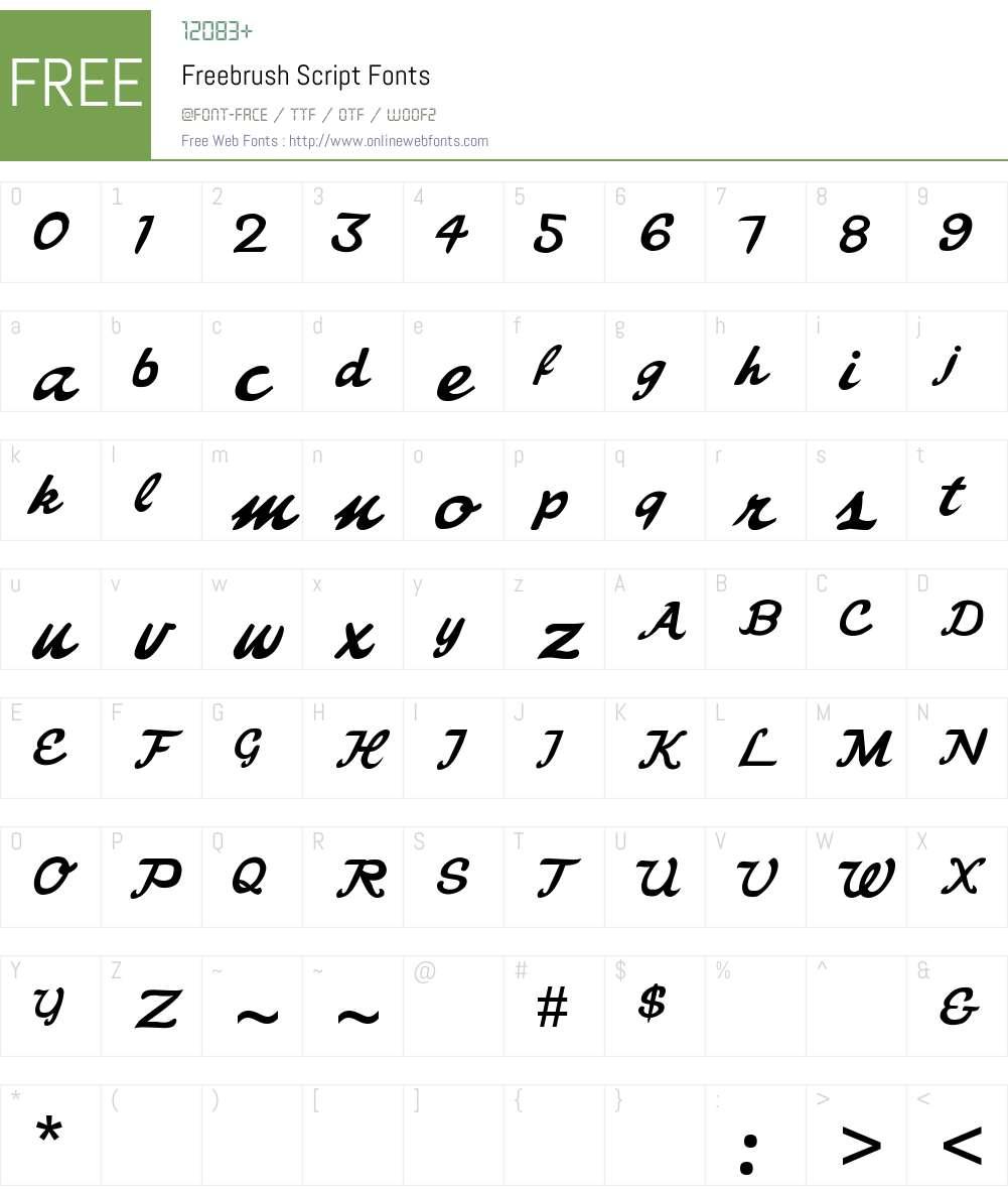 Freebrush Script Font Screenshots