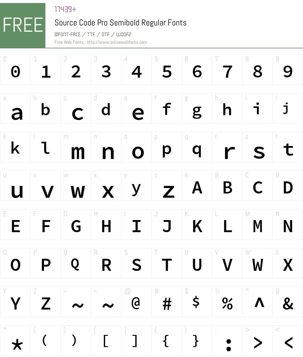 Source Code Pro Semibold Font Screenshots