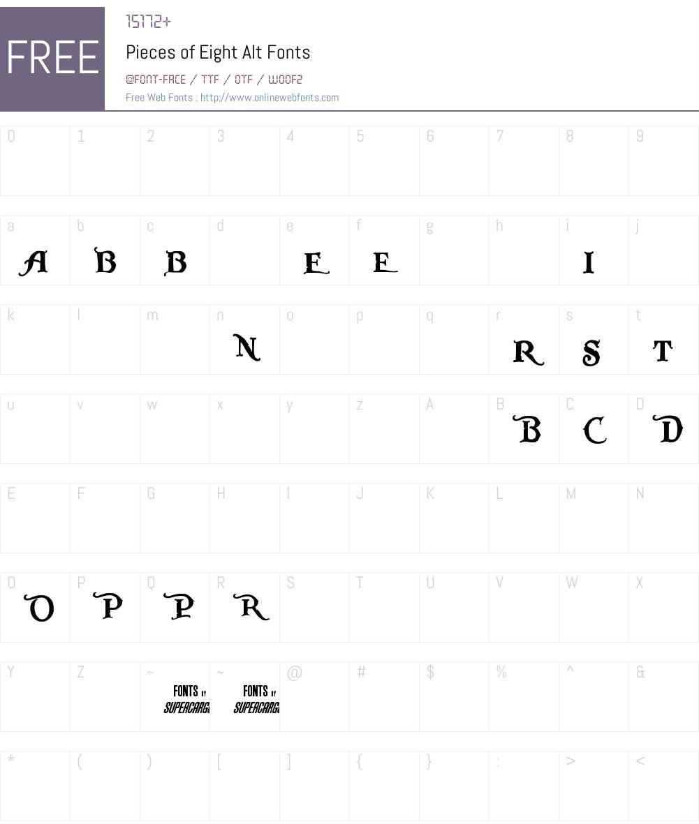 Pieces of Eight Alt Font Screenshots