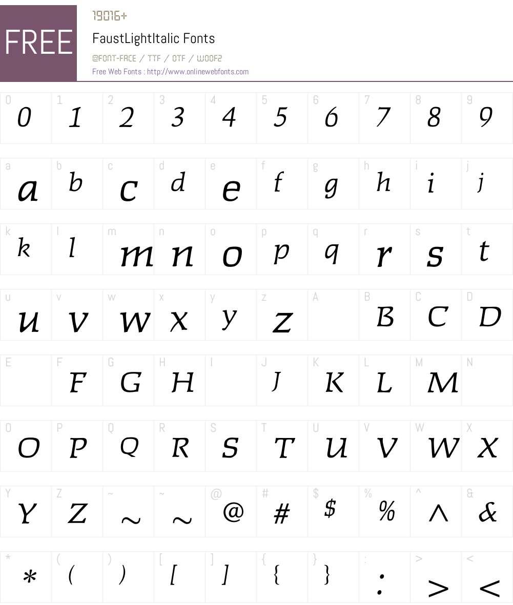 FaustLightItalic Font Screenshots