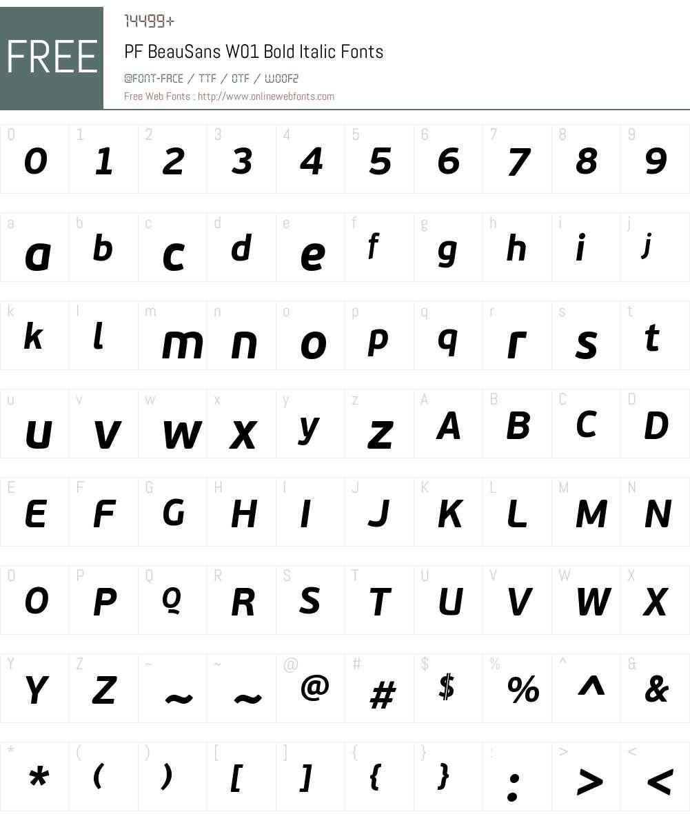 PFBeauSansW01-BoldItalic Font Screenshots