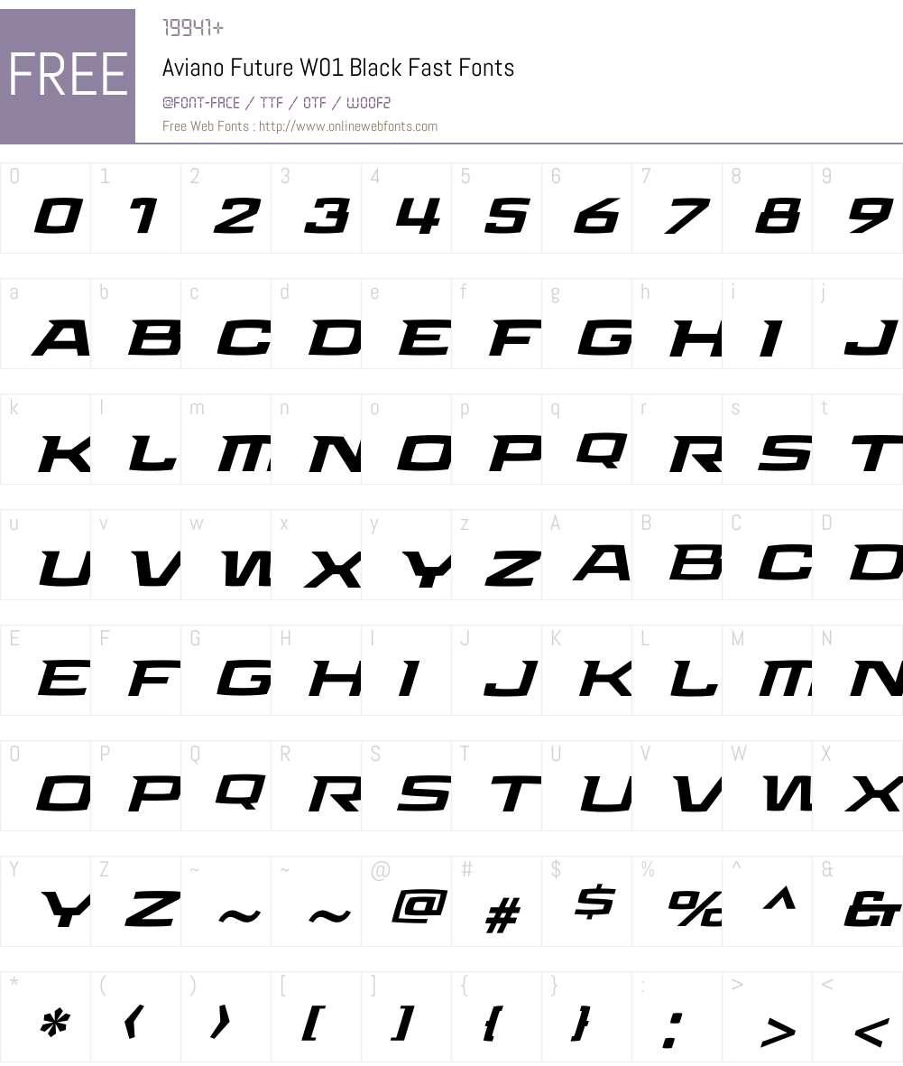 Aviano Future Black Fast Font Screenshots
